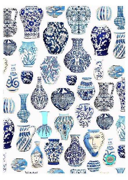 Blue Vases Tea Towel - Anna Chandler Design