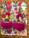 Hot Pink Pom Pom Earrings