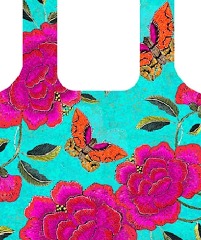 Big Peony Turquoise Fold Up Shopping Bag