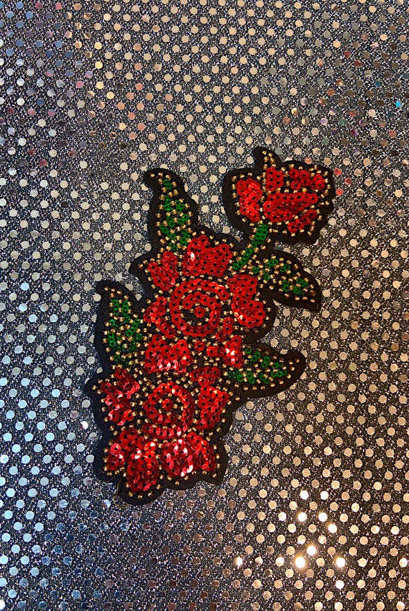 Sequinned Embellishment - Red Red Roses Small