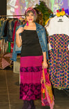 Hmong Velvet Skirt in Fuchsia