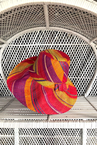 Made in Madagascar Hat - Lime, Purple, Orange & Red SMALL