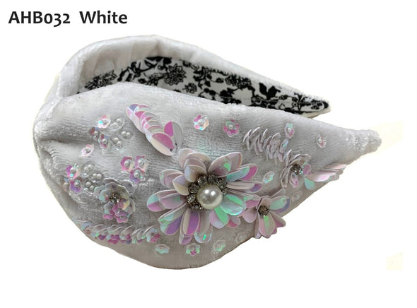 White Velvet Headband with White Floral Sequins- Anannasa