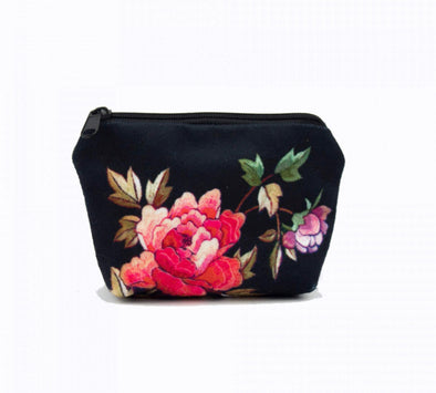 Black Peony Change Purse - Anna Chandler Design