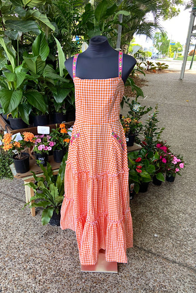Dorothy Dress in Orange Gingham - Custom design by SFH