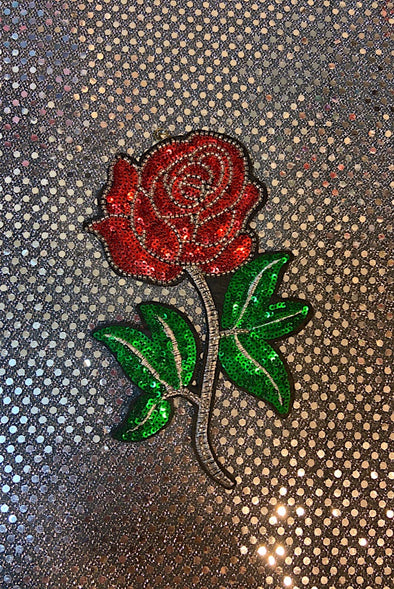 Sequinned Embellishment - Red Red Rose