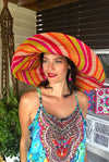 Made in Madagascar Hat - Orange,Beige, Red, Pink & Lime
