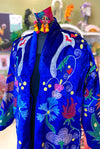 Suzani Coat in Royal Blue Velvet - Rooster Back