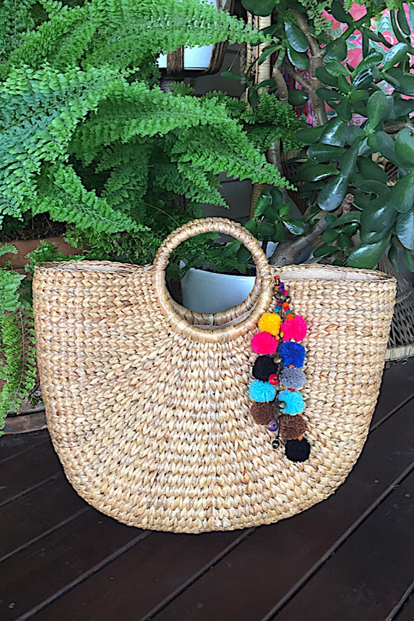 Handwoven Hyacinth Basket with Pom Poms( Large)