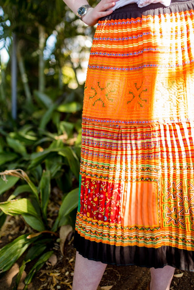 Exquisite Hmong Pleated Skirt - Shades of Orange