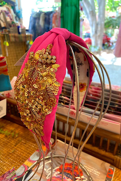 Embellished Headband in Hot Pink - Annanasa