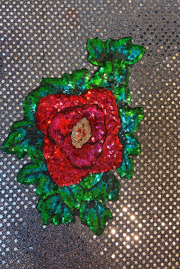 Sequinned Embellishment - 3D Red Rose