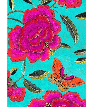 Big Peony Turquoise Table Cloth - Anna Chandler
