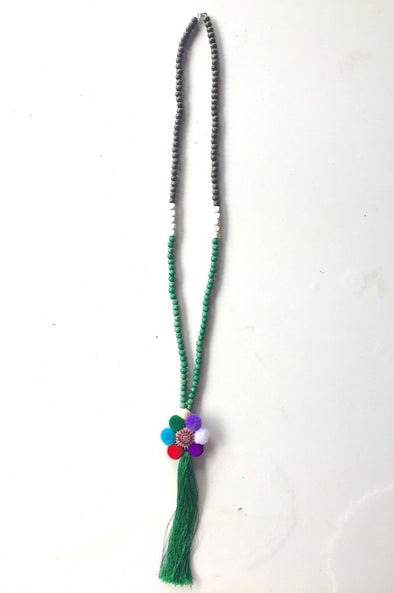Pom Flower Necklace with Dark Green Tassel