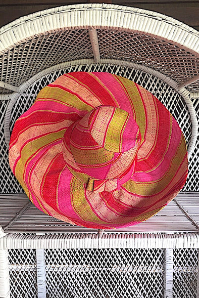 Made in Madagascar Hat - Lime, Pink & Red