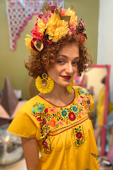 Mexican Bohemian Dress - Yellow