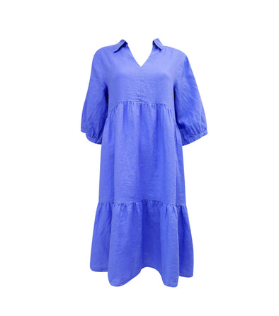 Linen Smock Dress in Blue