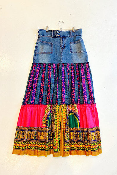 Ankara Skirt with Vintage Denim - SFH Designs Original