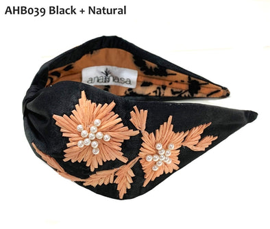 Black Velvet Headband with Floral Stitching - Anannasa