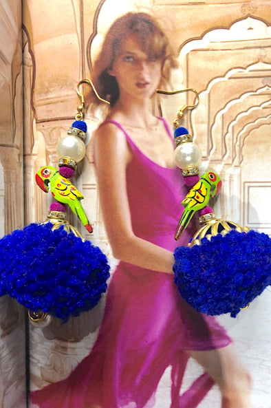 Exotic Parrot Pom Pearls in Royal Blue- The Immaculate Earring Collection