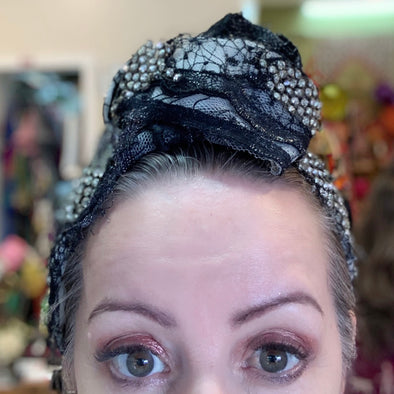 Black Lace with Diamanté Details Turban by Flora Fascinata #31