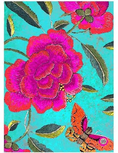 Big Peony Turquoise Tea Towel - Anna Chandler Design