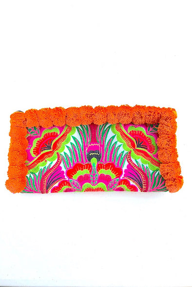 Adventurous Orange Pom Pom Colourful Clutch