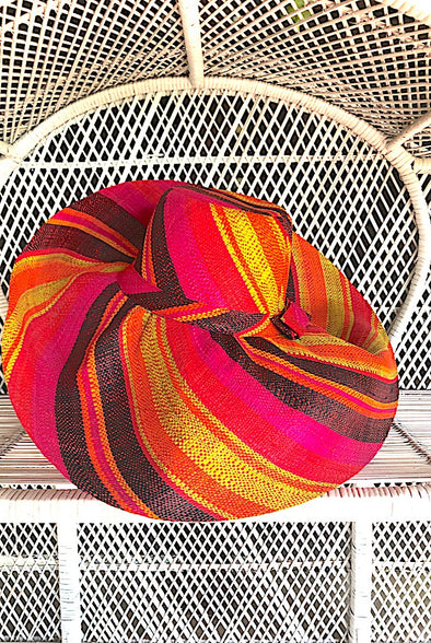 Made in Madagascar Hat - Pink, Orange, Black & Lime