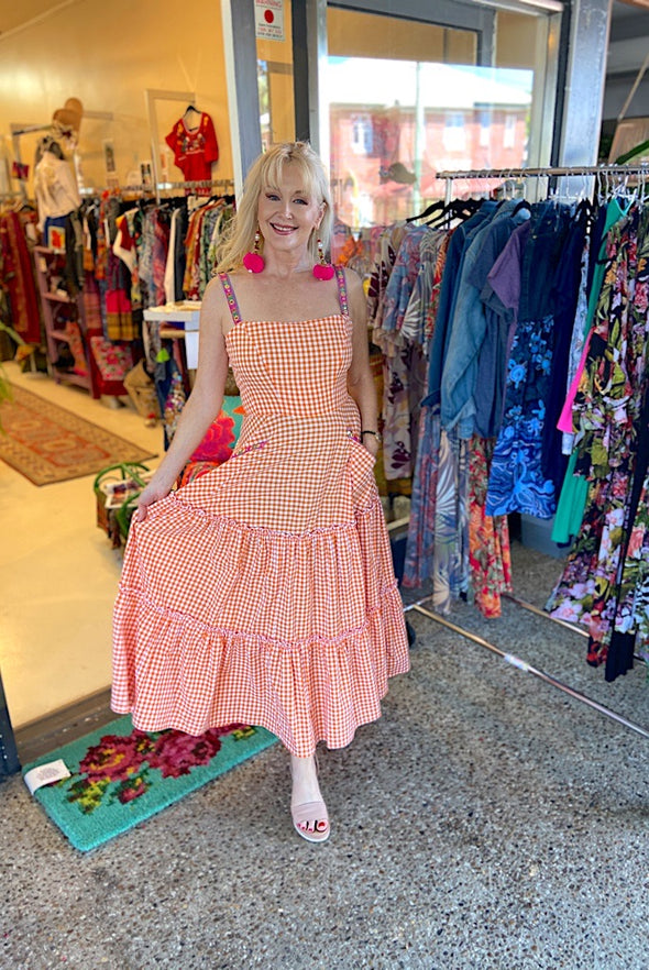 Dorothy Dress in Gorgeous Orange Gingham - Custom design by SFH
