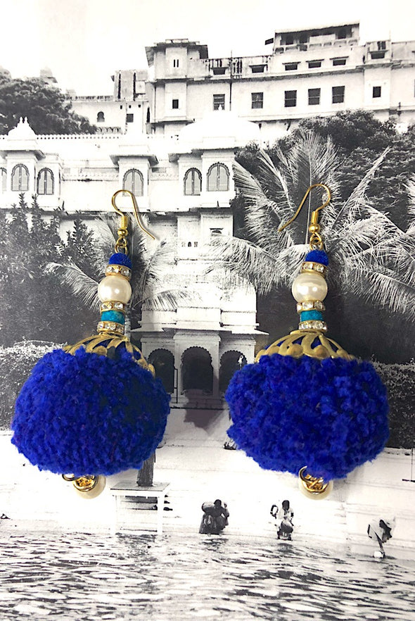 Pom Pearls in Royal Blue - The Immaculate Earring Collection