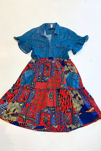 Ankara Shirt Dress - Denim Shirt
