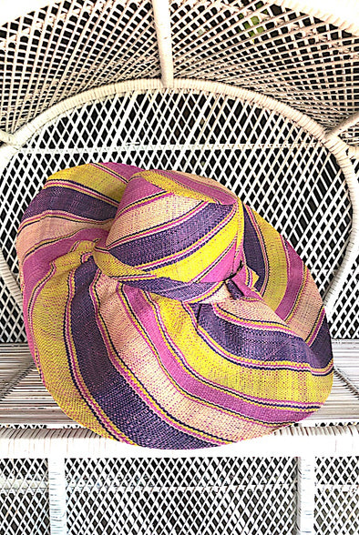 Made in Madagascar Hat - Shades of Purple & Lime