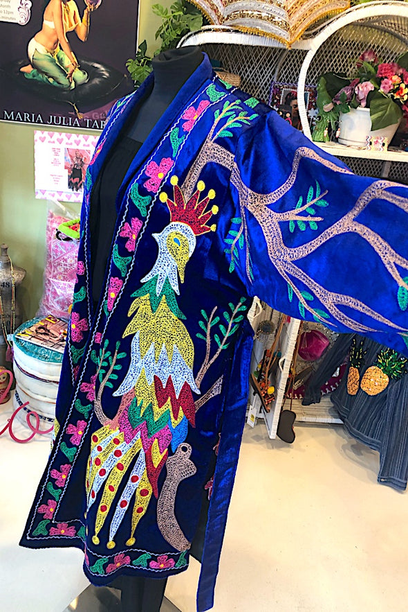 Rooster Suzani Coat in Royal Blue Velvet