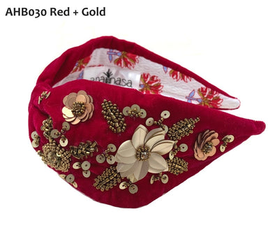 Red Velvet Headband with Gold Floral Sequins- Anannasa