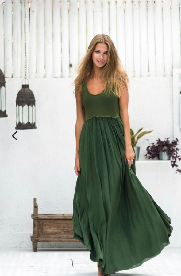Goddess Maxi Dress in Forrest Green - Renee Loves Frances