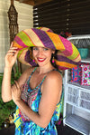 Made in Madagascar Hat - Purple, Orange, Pink, Lime & Beige