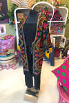 Botanicals Suzani Coat in Black