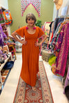 Goddess Maxi Dress in Burnt Orange with Flutter Sleeves- Renee Loves Frances