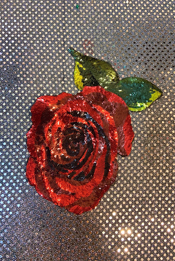Sequinned Embellishment - Red Rose