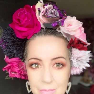 Shades of Pink with Black Headpiece by Flora Fascinata #52