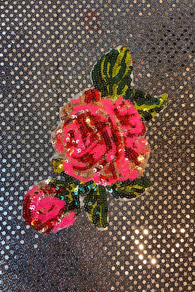 Sequinned Embellishment - Pink & Red Rose