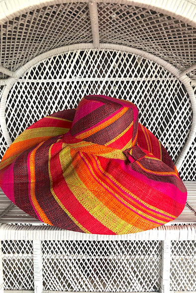 Made in Madagascar Hat - Orange, Black, Pink, Red & Lime
