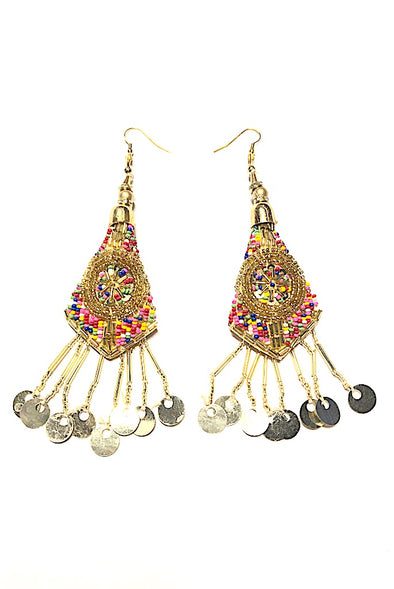 100's & 1000's Beaded Gold Dangles - Gorgeous Glamour Earring Collection