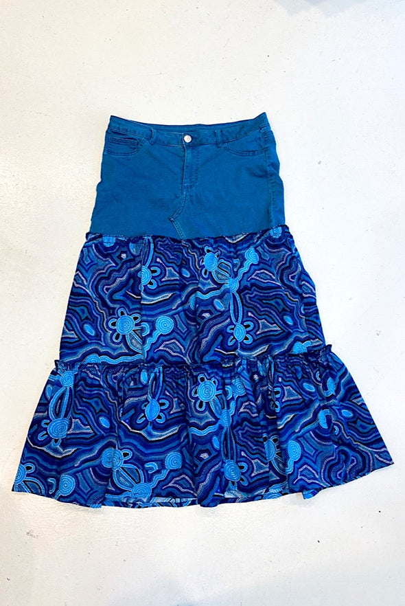 Ankara Ruffles Skirt with Vintage Denim - SFH Designs Original