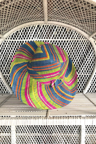 Made in Madagascar Hat - Pink , Lime, Blue  & Yellow SMALL