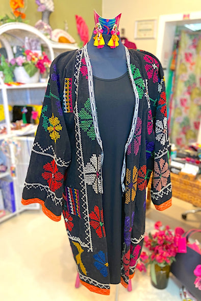 Rainbow Suzani Coat in Black