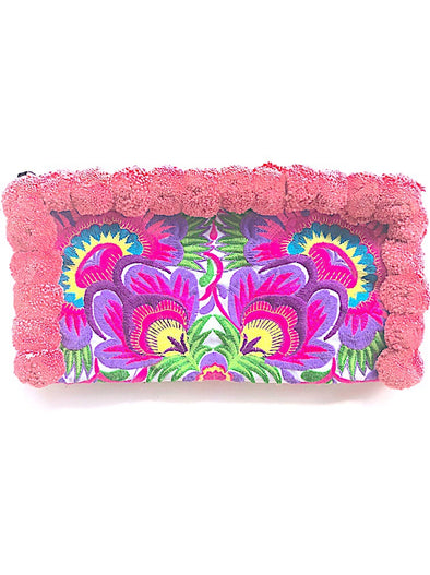 Blush Pink Pom Pom Colourful Clutch