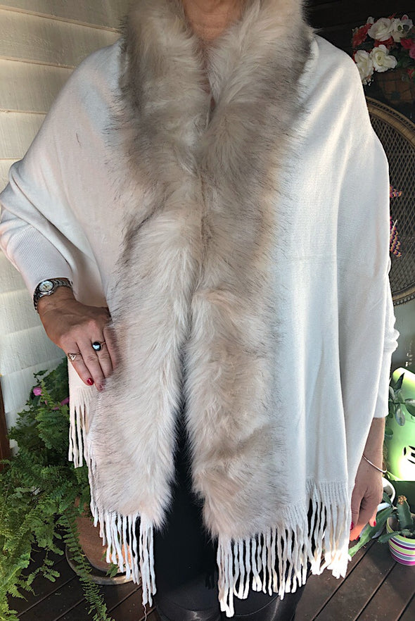 Ivory Faux Fur Knit Jacket