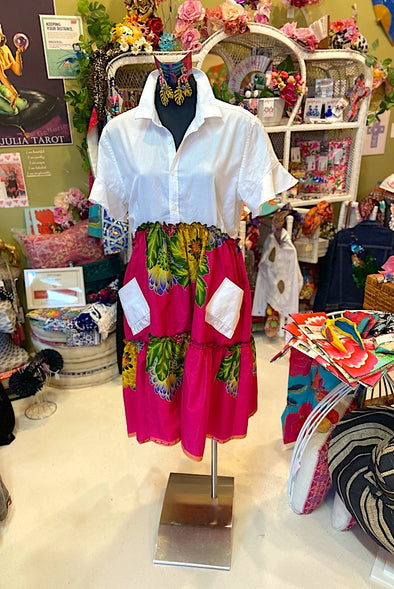 Ankara Shirt Short Dress - White Saba Shirt