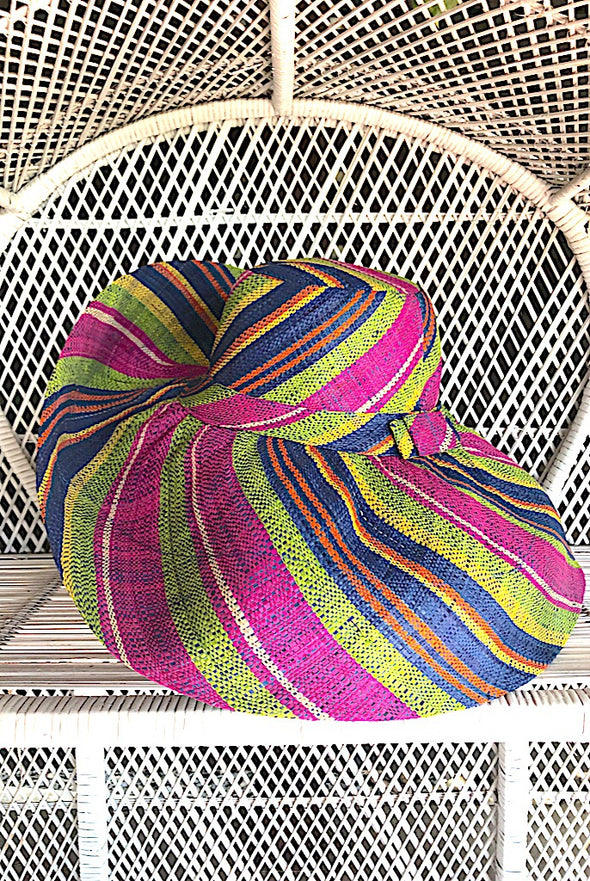 Made in Madagascar Hat - Purple, Lime, Yellow, Orange & Blue